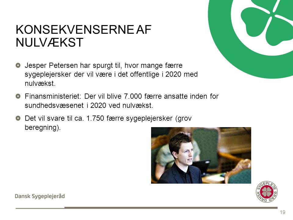 INDHOLDSSIDE MED PUNKTOPSTILLING Tekst med Punktopstilling PUNKTOPSTILLING For at skifte til Underoverskrift i Fed tekst tryk fire gange på denne knap i topmenuen For at komme tilbage til de forskellige bulletdesign tryk på denne knap i topmenuen KONSEKVENSERNE AF NULVÆKST Jesper Petersen har spurgt til, hvor mange færre sygeplejersker der vil være i det offentlige i 2020 med nulvækst.