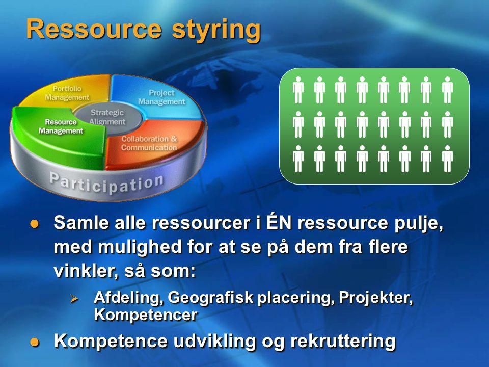 Ressource styring Samle alle ressourcer i ÉN ressource pulje, med mulighed for at se på dem fra flere vinkler, så som: Samle alle ressourcer i ÉN ressource pulje, med mulighed for at se på dem fra flere vinkler, så som:  Afdeling, Geografisk placering, Projekter, Kompetencer Kompetence udvikling og rekruttering Kompetence udvikling og rekruttering Samle alle ressourcer i ÉN ressource pulje, med mulighed for at se på dem fra flere vinkler, så som: Samle alle ressourcer i ÉN ressource pulje, med mulighed for at se på dem fra flere vinkler, så som:  Afdeling, Geografisk placering, Projekter, Kompetencer Kompetence udvikling og rekruttering Kompetence udvikling og rekruttering