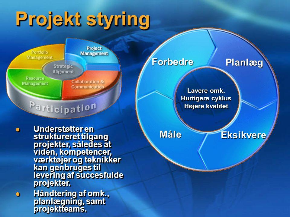 Projekt styring Planlæg Lavere omk.