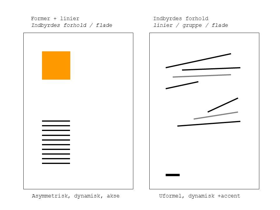Former + linier Indbyrdes forhold / flade Indbyrdes forhold linier / gruppe / flade Asymmetrisk, dynamisk, akseUformel, dynamisk +accent