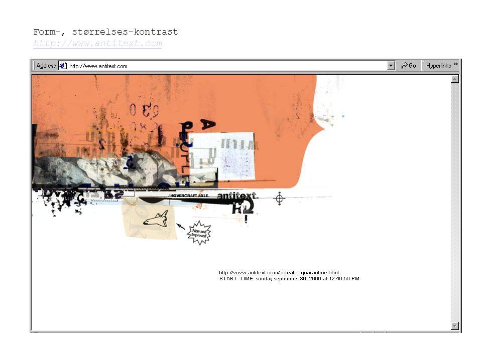 Form-, størrelses-kontrast http://www.antitext.com