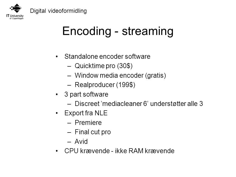 Digital videoformidling Encoding - streaming Standalone encoder software –Quicktime pro (30$) –Window media encoder (gratis) –Realproducer (199$) 3 part software –Discreet 'mediacleaner 6' understøtter alle 3 Export fra NLE –Premiere –Final cut pro –Avid CPU krævende - ikke RAM krævende