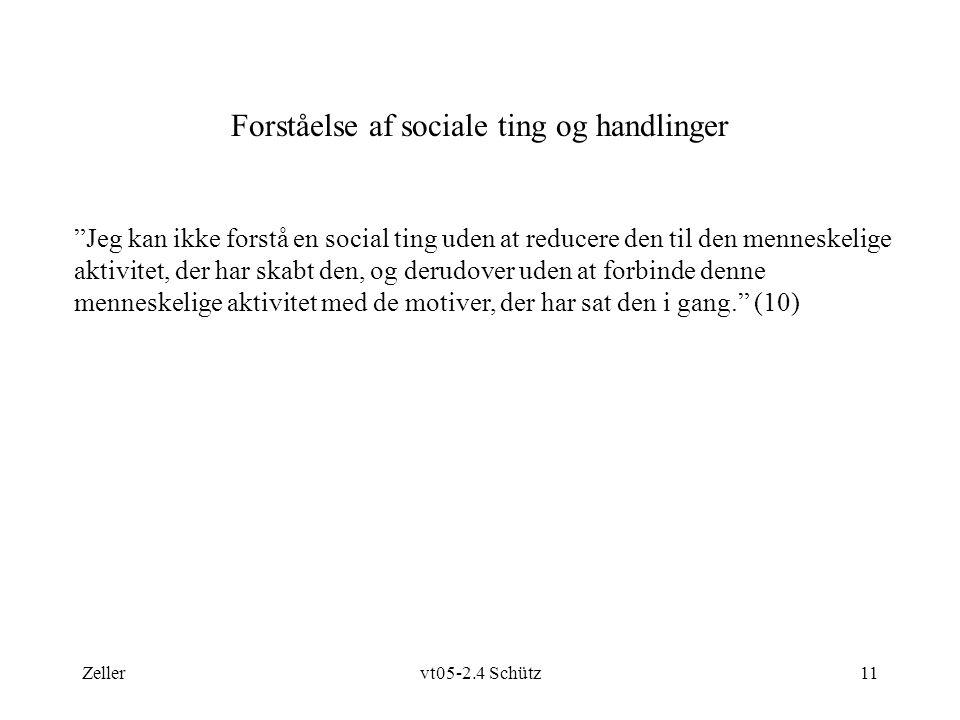 Zellervt05-2.4 Schütz11 Forståelse af sociale ting og handlinger Jeg kan ikke forstå en social ting uden at reducere den til den menneskelige aktivitet, der har skabt den, og derudover uden at forbinde denne menneskelige aktivitet med de motiver, der har sat den i gang. (10)
