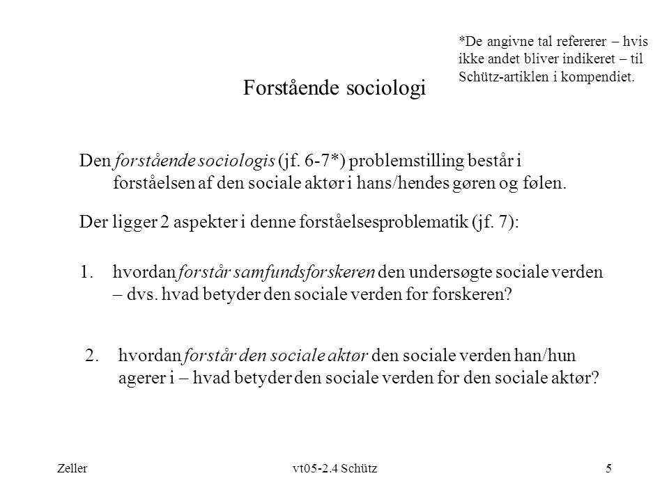 Zellervt05-2.4 Schütz5 Forstående sociologi Den forstående sociologis (jf.