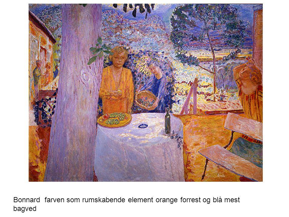 Bonnard farven som rumskabende element orange forrest og blå mest bagved