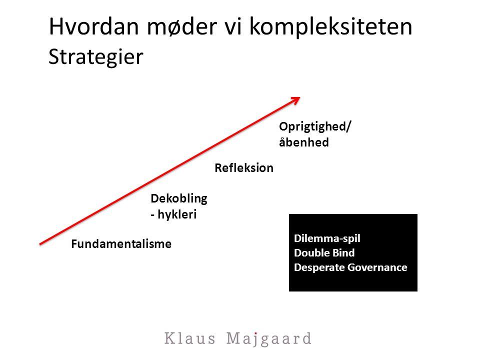 Hvordan møder vi kompleksiteten Strategier Fundamentalisme Dekobling - hykleri Refleksion Oprigtighed/ åbenhed Dilemma-spil Double Bind Desperate Governance