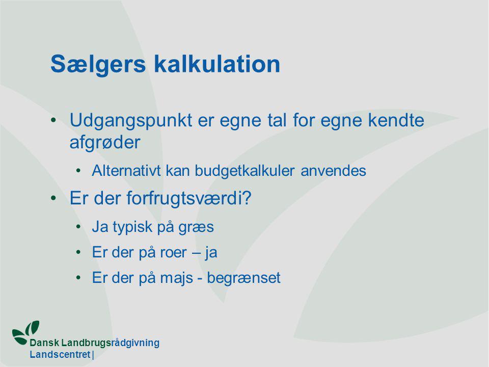 Dansk Landbrugsrådgivning Landscentret | Sælgers kalkulation Udgangspunkt er egne tal for egne kendte afgrøder Alternativt kan budgetkalkuler anvendes Er der forfrugtsværdi.