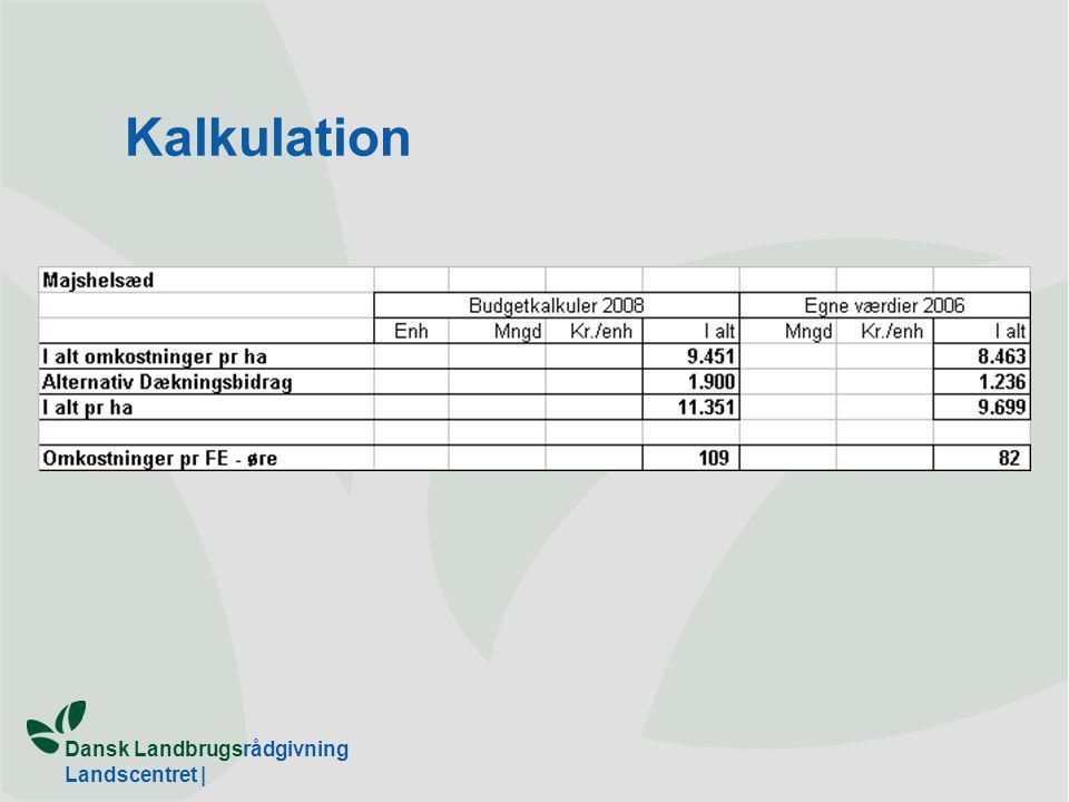 Dansk Landbrugsrådgivning Landscentret | Kalkulation