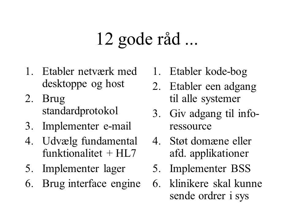 Kobling via beskeder Standarder for udveksling af beskeder mellem systemer – internt/eksternt –EDIFACT –HL7 Standarder for dokumenthåndtering (udveksling af dokumenter) –CEN/TC251, DICOM m.fl.