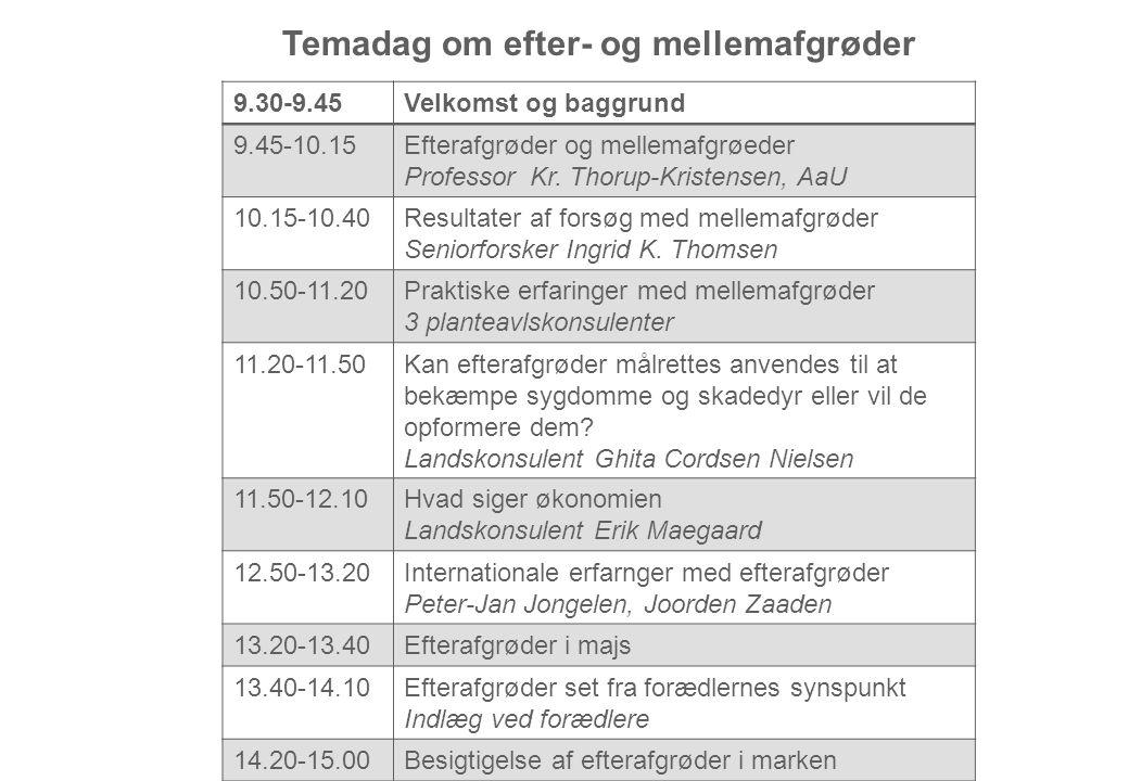 9.30-9.45Velkomst og baggrund 9.45-10.15Efterafgrøder og mellemafgrøeder Professor Kr.