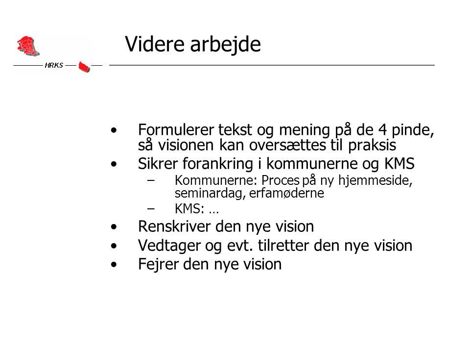 Videre arbejde Formulerer tekst og mening på de 4 pinde, så visionen kan oversættes til praksis Sikrer forankring i kommunerne og KMS –Kommunerne: Proces på ny hjemmeside, seminardag, erfamøderne –KMS: … Renskriver den nye vision Vedtager og evt.