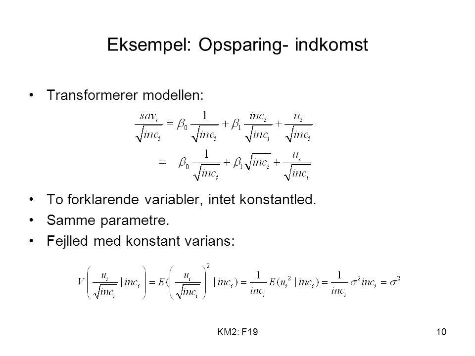 KM2: F1910 Eksempel: Opsparing- indkomst Transformerer modellen: To forklarende variabler, intet konstantled.