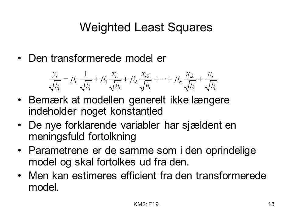 KM2: F1913 Weighted Least Squares Den transformerede model er Bemærk at modellen generelt ikke længere indeholder noget konstantled De nye forklarende variabler har sjældent en meningsfuld fortolkning Parametrene er de samme som i den oprindelige model og skal fortolkes ud fra den.