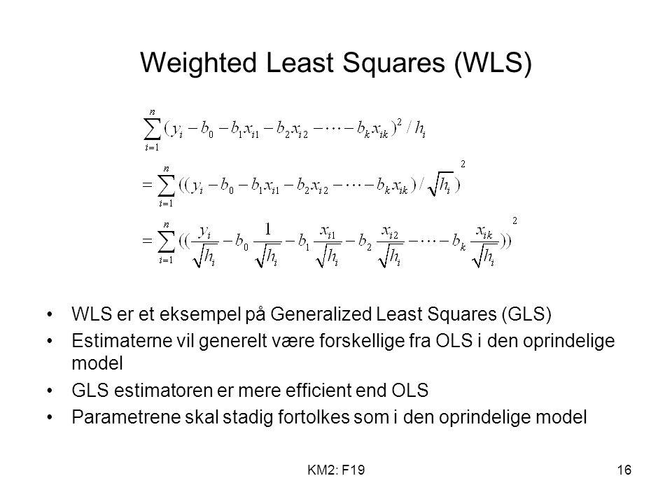 KM2: F1916 Weighted Least Squares (WLS) WLS er et eksempel på Generalized Least Squares (GLS) Estimaterne vil generelt være forskellige fra OLS i den oprindelige model GLS estimatoren er mere efficient end OLS Parametrene skal stadig fortolkes som i den oprindelige model