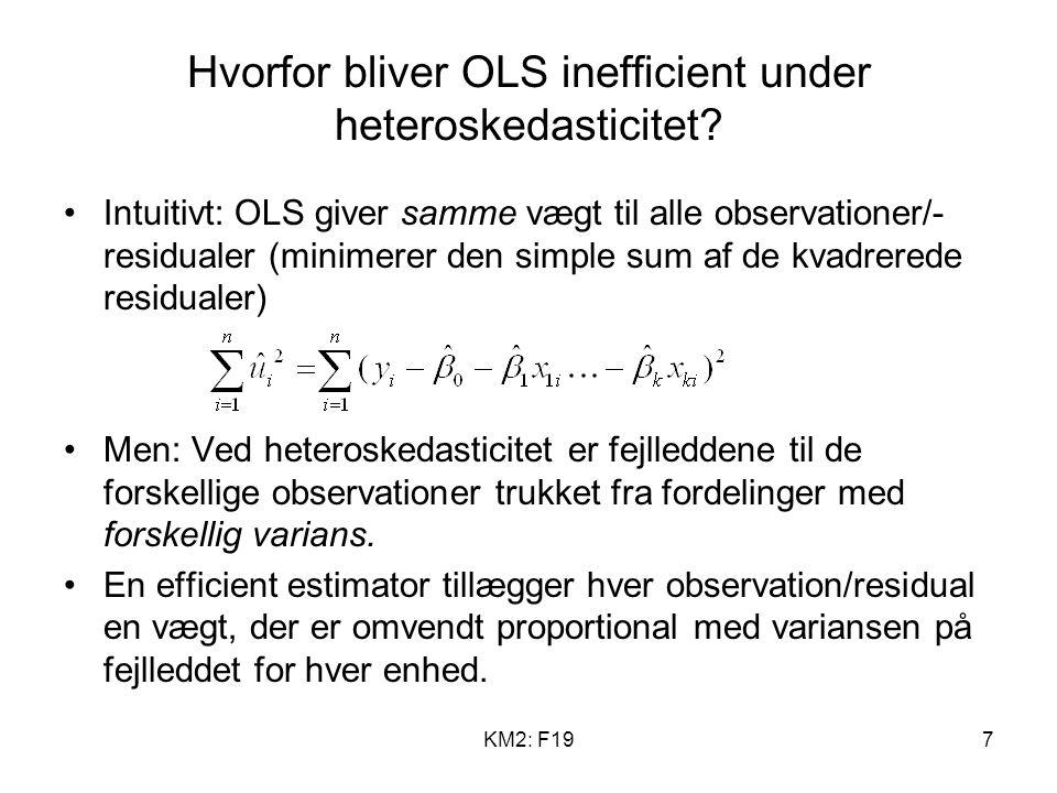 KM2: F197 Hvorfor bliver OLS inefficient under heteroskedasticitet.
