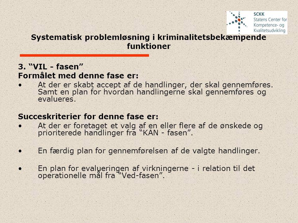 """Systematisk problemløsning i kriminalitetsbekæmpende funktioner 3. """"VIL - fasen"""" Formålet med denne fase er: At der er skabt accept af de handlinger,"""