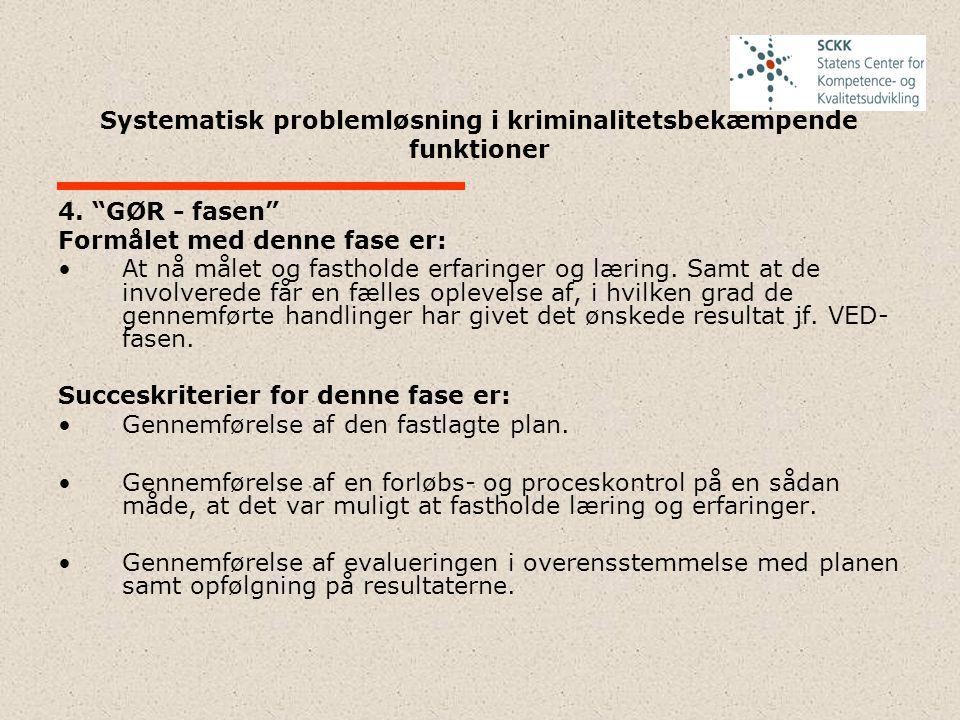 """Systematisk problemløsning i kriminalitetsbekæmpende funktioner 4. """"GØR - fasen"""" Formålet med denne fase er: At nå målet og fastholde erfaringer og læ"""