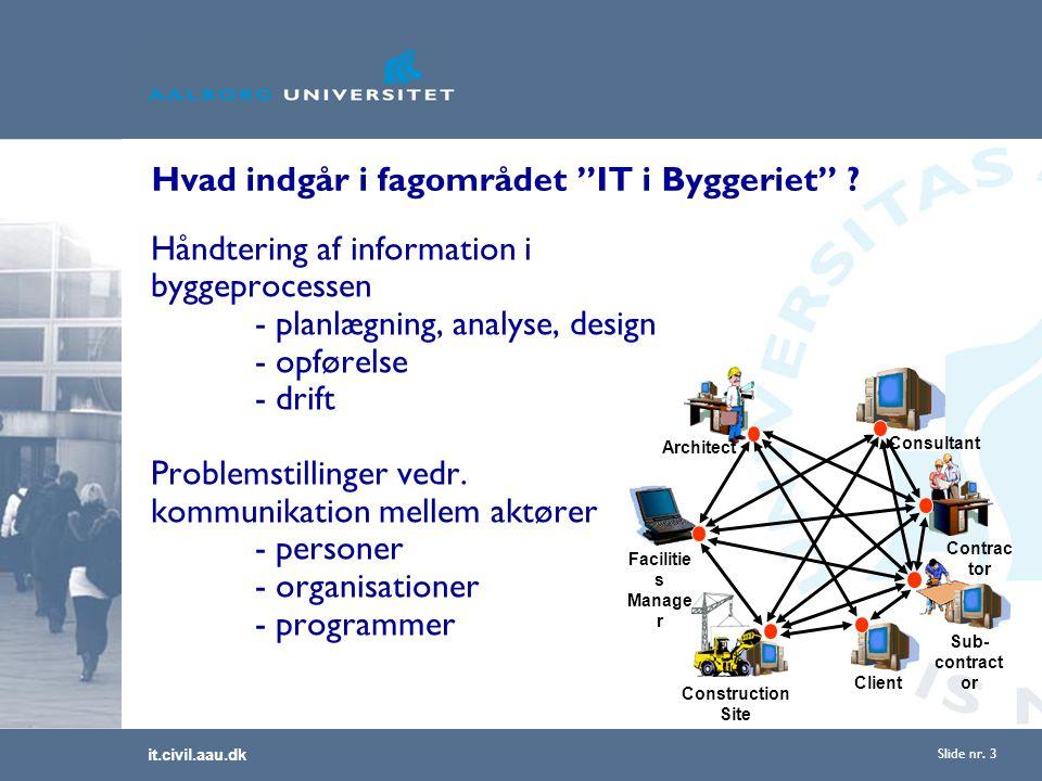 it.civil.aau.dk Slide nr. 3 Hvad indgår i fagområdet IT i Byggeriet .