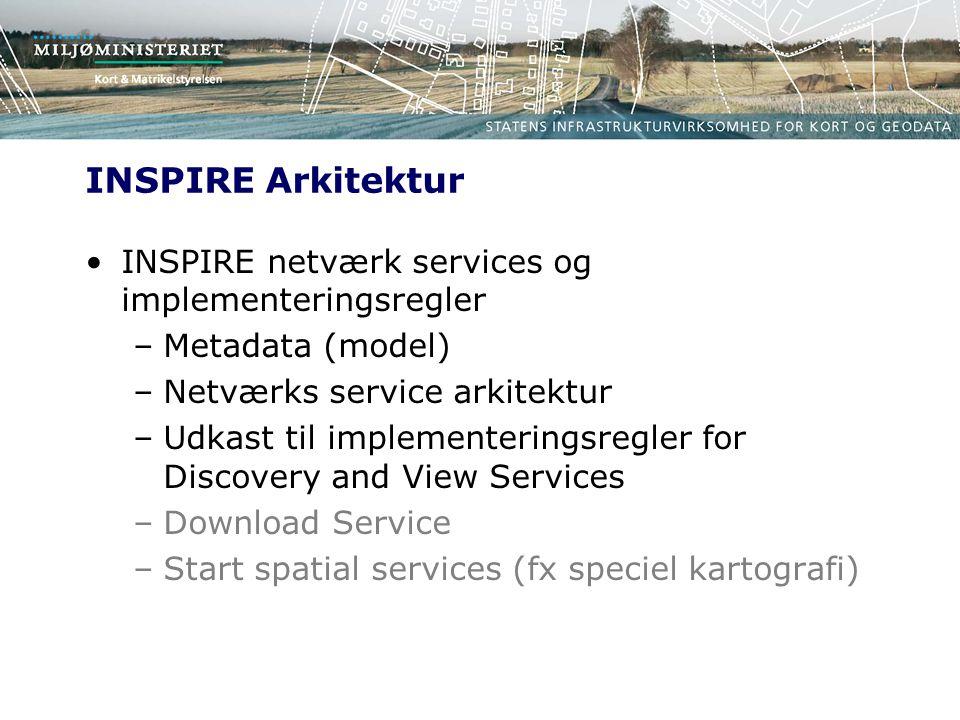 INSPIRE Arkitektur INSPIRE netværk services og implementeringsregler –Metadata (model) –Netværks service arkitektur –Udkast til implementeringsregler for Discovery and View Services –Download Service –Start spatial services (fx speciel kartografi)