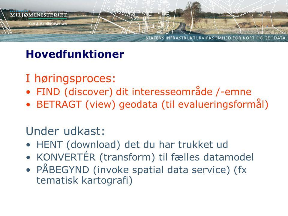 Hovedfunktioner I høringsproces: FIND (discover) dit interesseområde /-emne BETRAGT (view) geodata (til evalueringsformål) Under udkast: HENT (download) det du har trukket ud KONVERTÉR (transform) til fælles datamodel PÅBEGYND (invoke spatial data service) (fx tematisk kartografi)
