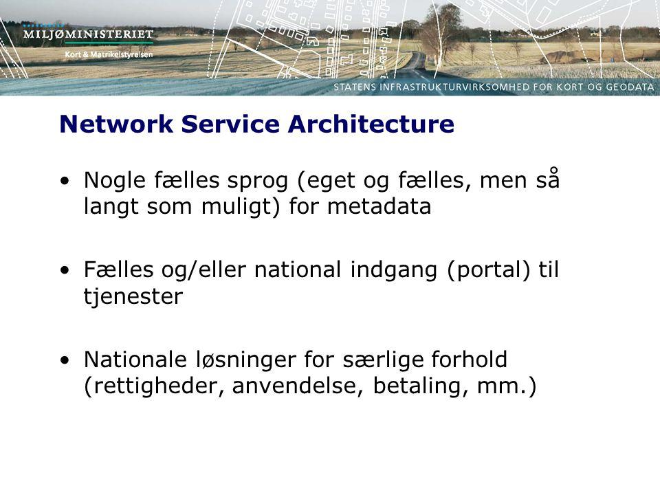 Network Service Architecture Nogle fælles sprog (eget og fælles, men så langt som muligt) for metadata Fælles og/eller national indgang (portal) til tjenester Nationale løsninger for særlige forhold (rettigheder, anvendelse, betaling, mm.)