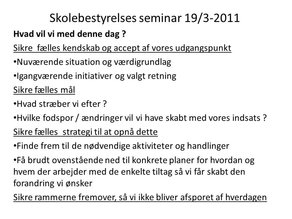 Skolebestyrelses seminar 19/3-2011 Hvad vil vi med denne dag .