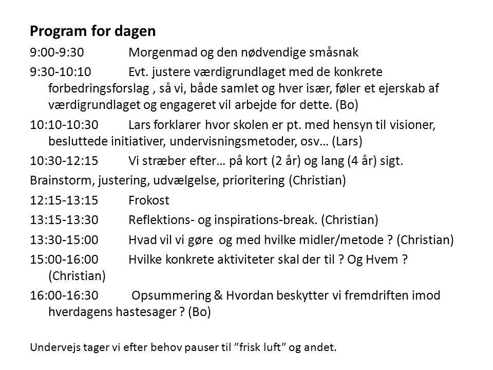 Program for dagen 9:00-9:30 Morgenmad og den nødvendige småsnak 9:30-10:10Evt.