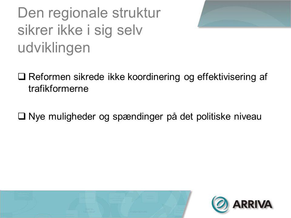 Den regionale struktur sikrer ikke i sig selv udviklingen  Reformen sikrede ikke koordinering og effektivisering af trafikformerne  Nye muligheder og spændinger på det politiske niveau