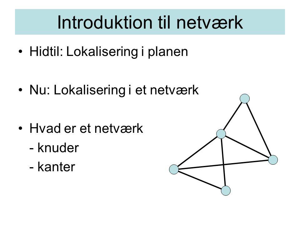 Introduktion til netværk Hidtil: Lokalisering i planen Nu: Lokalisering i et netværk Hvad er et netværk - knuder - kanter