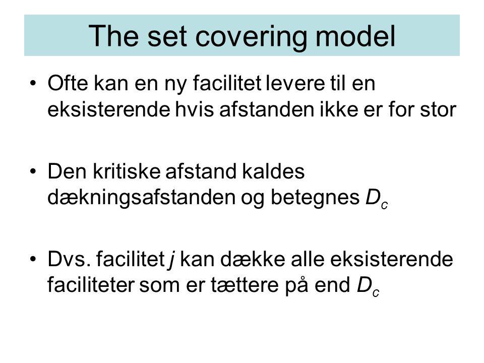 The set covering model Ofte kan en ny facilitet levere til en eksisterende hvis afstanden ikke er for stor Den kritiske afstand kaldes dækningsafstanden og betegnes D c Dvs.