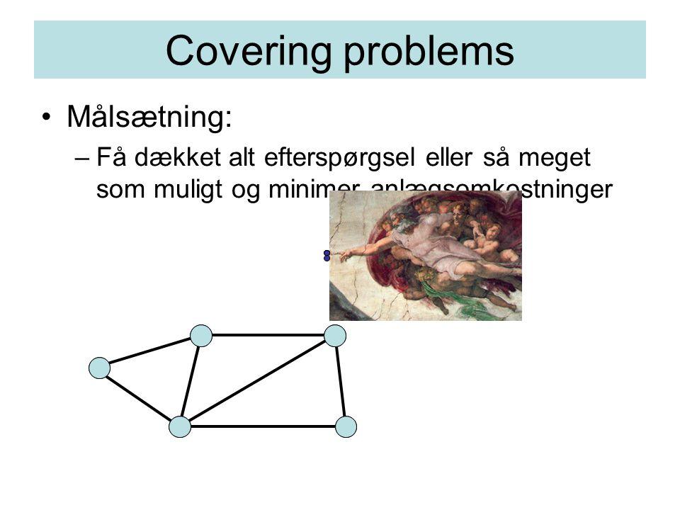 Covering problems Målsætning: –Få dækket alt efterspørgsel eller så meget som muligt og minimer anlægsomkostninger