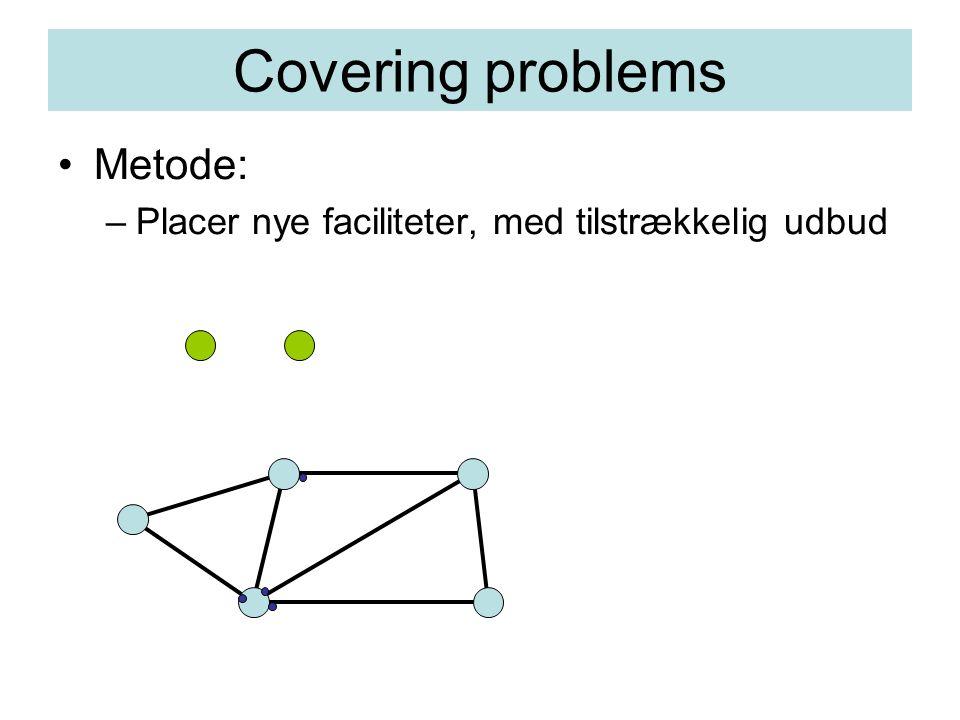 Covering problems Metode: –Placer nye faciliteter, med tilstrækkelig udbud