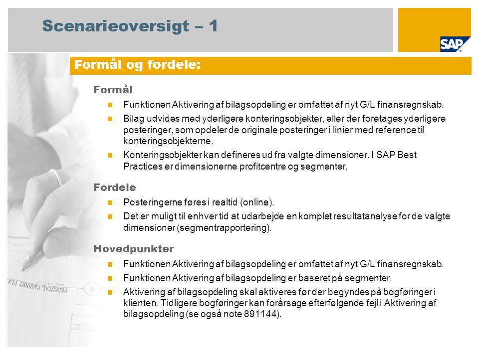 Scenarieoversigt – 1 Formål Funktionen Aktivering af bilagsopdeling er omfattet af nyt G/L finansregnskab.