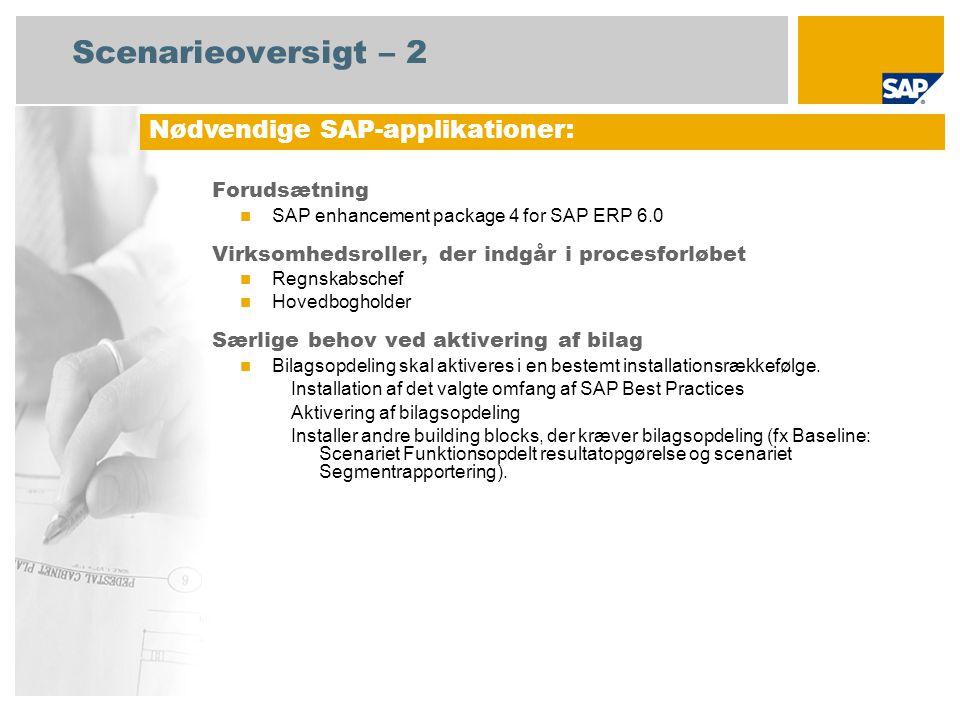 Scenarieoversigt – 2 Forudsætning SAP enhancement package 4 for SAP ERP 6.0 Virksomhedsroller, der indgår i procesforløbet Regnskabschef Hovedbogholder Særlige behov ved aktivering af bilag Bilagsopdeling skal aktiveres i en bestemt installationsrækkefølge.