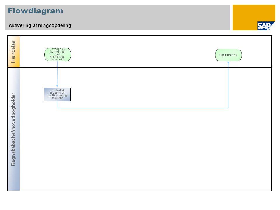 Flowdiagram Aktivering af bilagsopdeling Hændelse Hovedbogs- kontobilag med forskellige segmenter Regnskabschef/hovedbogholder Kontrol af tildeling af profitcenter og segment Rapportering