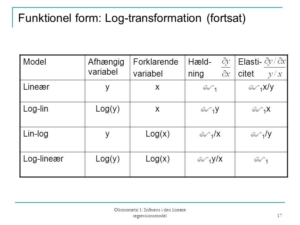 Økonometri 1: Inferens i den lineære regressionsmodel 17 Funktionel form: Log-transformation (fortsat) ModelAfhængig variabel Forklarende variabel Hæld- ning Elasti- citet Lineæryx 11  1 x/y Log-linLog(y)x 1y1y 1x1x Lin-logyLog(x)  1 /x  1 /y Log-lineærLog(y)Log(x)  1 y/x 11