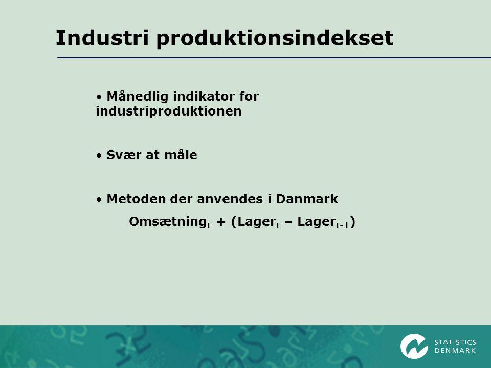 Industri produktionsindekset Månedlig indikator for industriproduktionen Svær at måle Metoden der anvendes i Danmark Omsætning t + (Lager t – Lager t-1 )