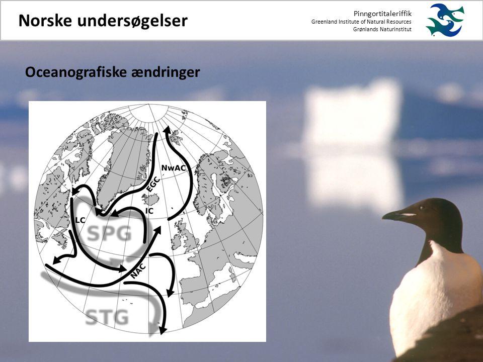 Pinngortitaleriffik Greenland Institute of Natural Resources Grønlands Naturinstitut Norske undersøgelser Oceanografiske ændringer