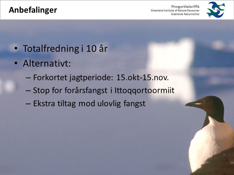 Totalfredning i 10 år Alternativt: – Forkortet jagtperiode: 15.okt-15.nov.