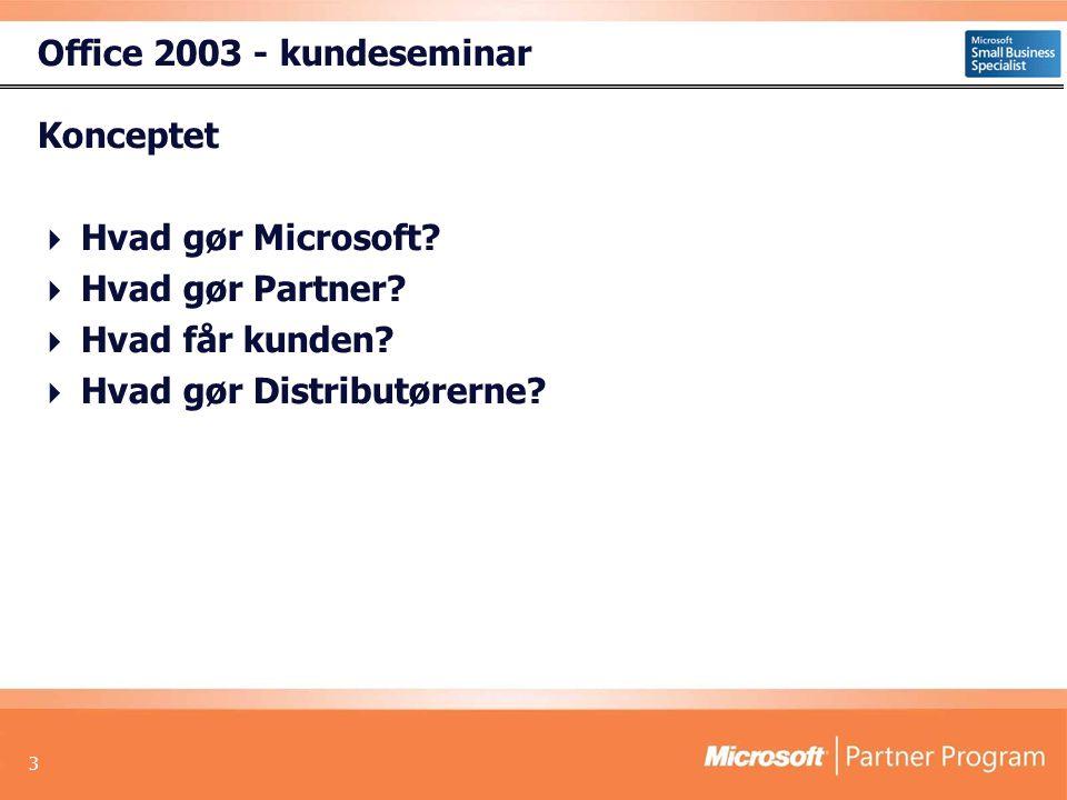 3 Office 2003 - kundeseminar Konceptet  Hvad gør Microsoft.