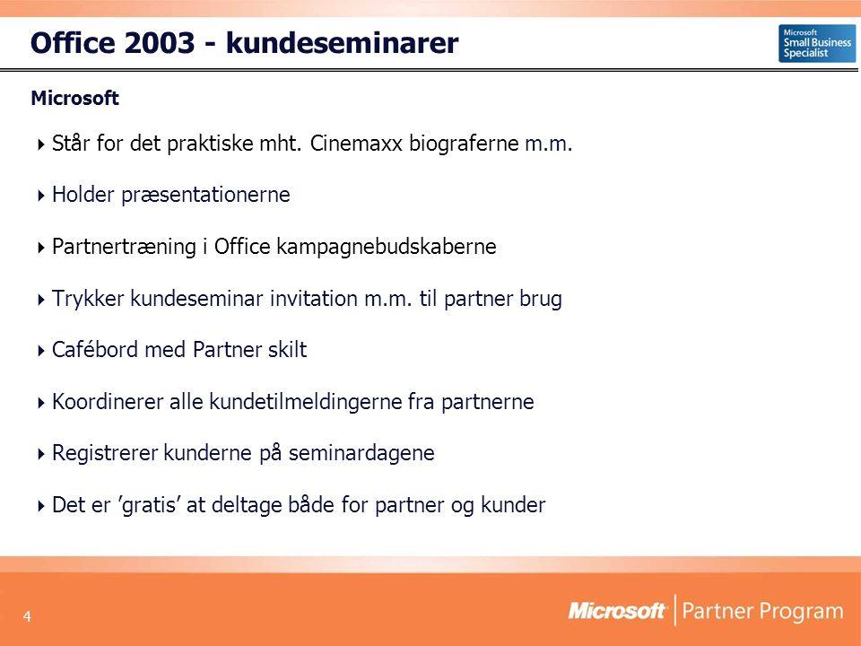 4 Office 2003 - kundeseminarer Microsoft  Står for det praktiske mht.