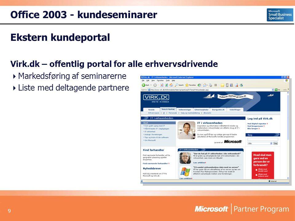 9 Ekstern kundeportal Virk.dk – offentlig portal for alle erhvervsdrivende  Markedsføring af seminarerne  Liste med deltagende partnere