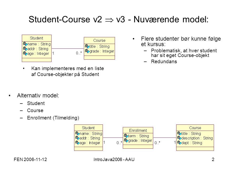 FEN 2006-11-12IntroJava2006 - AAU2 Student-Course v2  v3 - Nuværende model: Flere studenter bør kunne følge et kursus: –Problematisk, at hver student har sit eget Course-objekt –Redundans Alternativ model: –Student –Course –Enrollment (Tilmelding) Kan implementeres med en liste af Course-objekter på Student