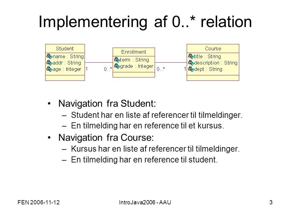 FEN 2006-11-12IntroJava2006 - AAU3 Implementering af 0..* relation Navigation fra Student: –Student har en liste af referencer til tilmeldinger.