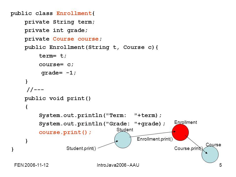 FEN 2006-11-12IntroJava2006 - AAU5 public class Enrollment{ private String term; private int grade; private Course course; public Enrollment(String t, Course c){ term= t; course= c; grade= -1; } //--- public void print() { System.out.println( Term: +term); System.out.println( Grade: +grade); course.print(); } Enrollment Student.print()Course.print() Enrollment.print() Student Course