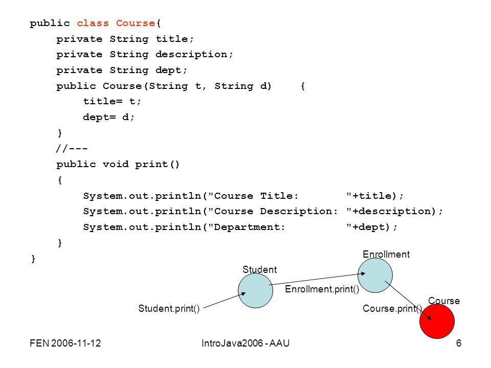 FEN 2006-11-12IntroJava2006 - AAU6 public class Course{ private String title; private String description; private String dept; public Course(String t, String d) { title= t; dept= d; } //--- public void print() { System.out.println( Course Title: +title); System.out.println( Course Description: +description); System.out.println( Department: +dept); } Enrollment Student.print()Course.print() Enrollment.print() Student Course