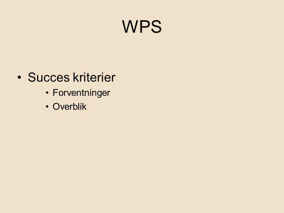 WPS Succes kriterier Forventninger Overblik