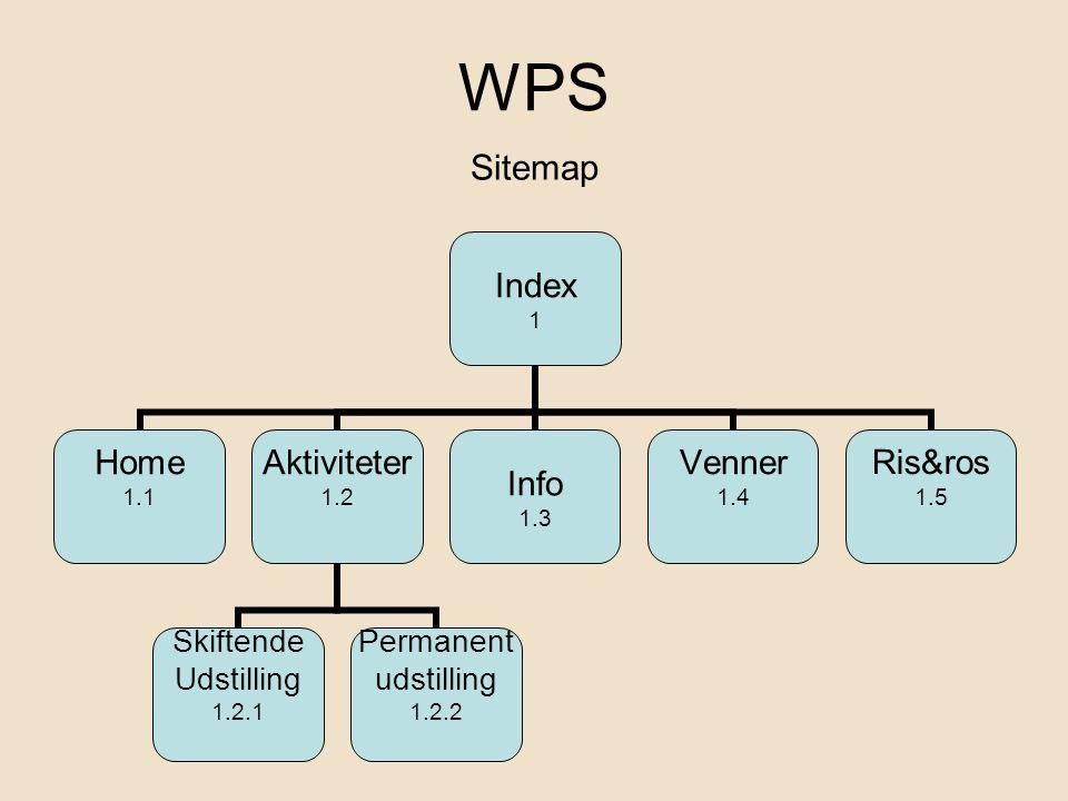 WPS Index 1 Home 1.1 Aktiviteter 1.2 Skiftende Udstilling 1.2.1 Permanent udstilling 1.2.2 Info 1.3 Venner 1.4 Ris&ros 1.5 Sitemap