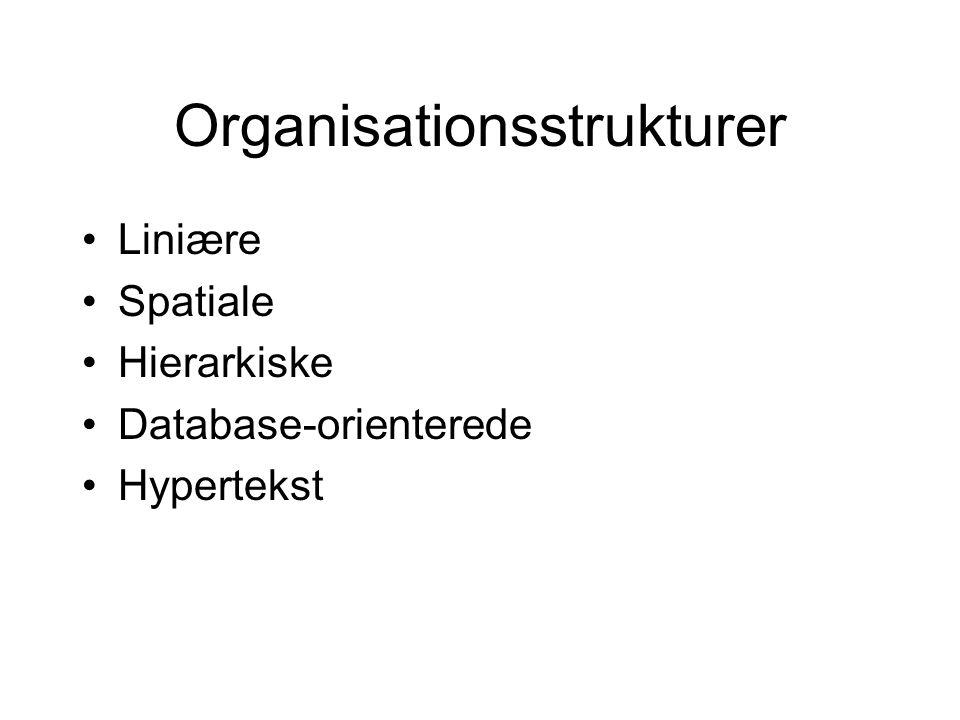 Organisationsstrukturer Liniære Spatiale Hierarkiske Database-orienterede Hypertekst