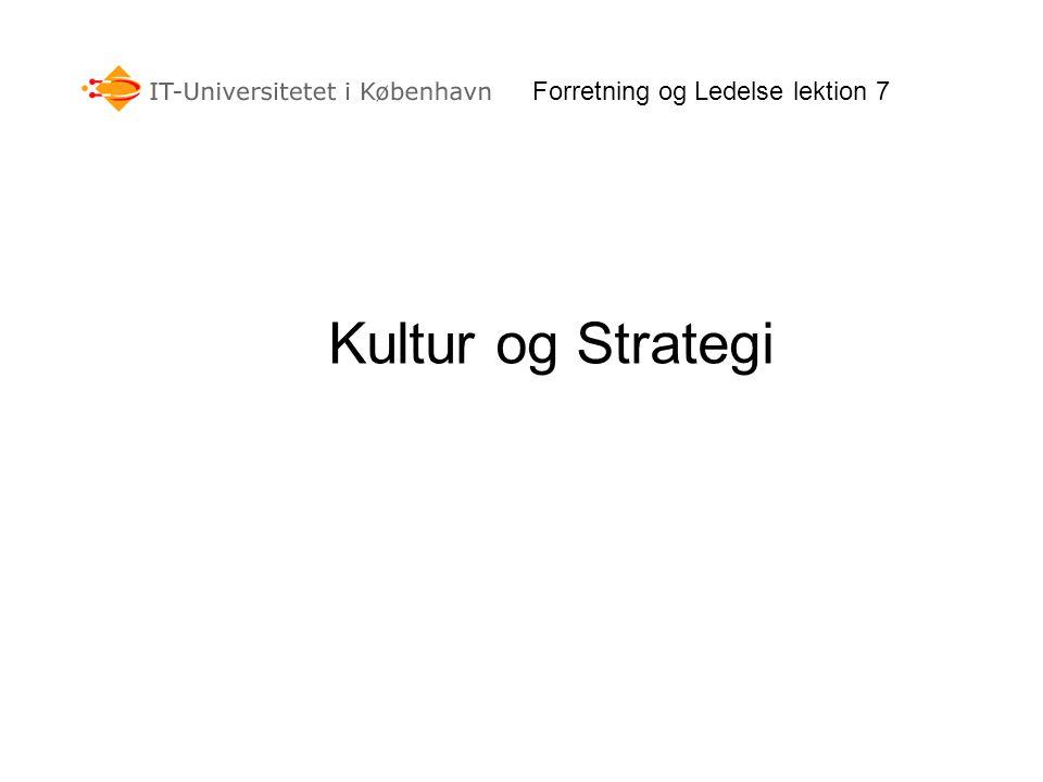 Forretning og Ledelse lektion 7 Kultur og Strategi
